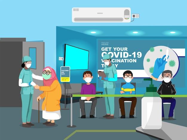 Иллюстрация людей в маске с медицинским персоналом в больнице для вакцинации против covid-19