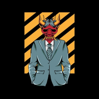 鬼マスクとかっこいいスーツを着ている人のイラスト