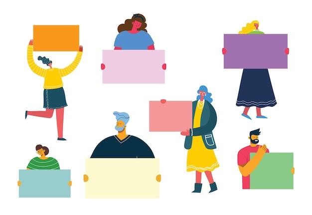 홍보에 사용하기 위해 배너를 가진 사람들의 그림