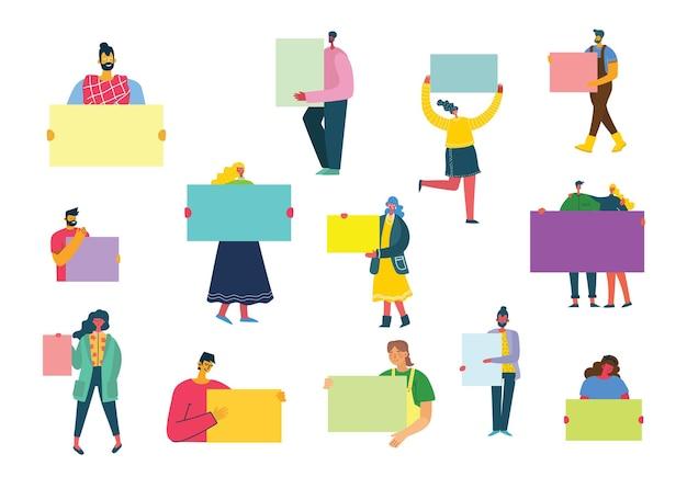 Иллюстрация людей с баннерами в плоском стиле