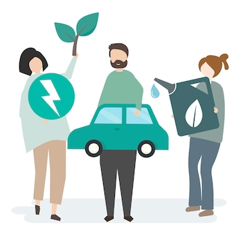 Illustration of people with nature resources
