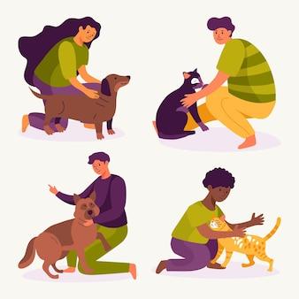 ペットを飼っている人のイラスト