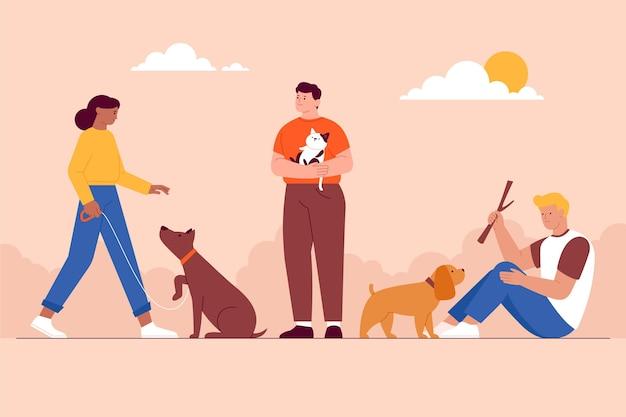 Иллюстрация людей с домашними животными