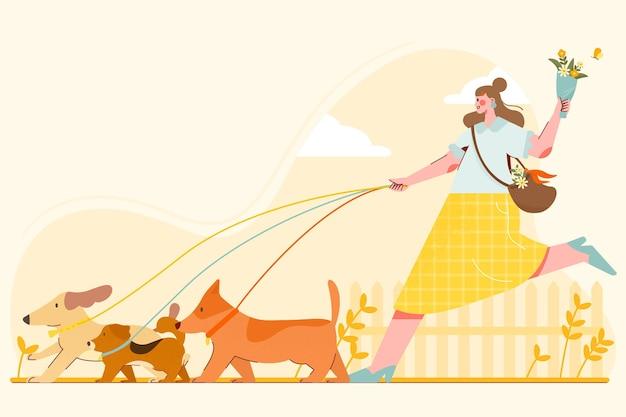 애완 동물을 가진 사람들의 그림