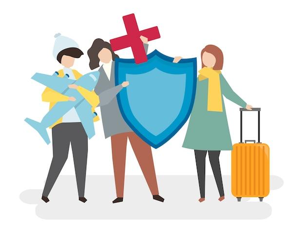 여행 보험을 가진 사람들의 그림