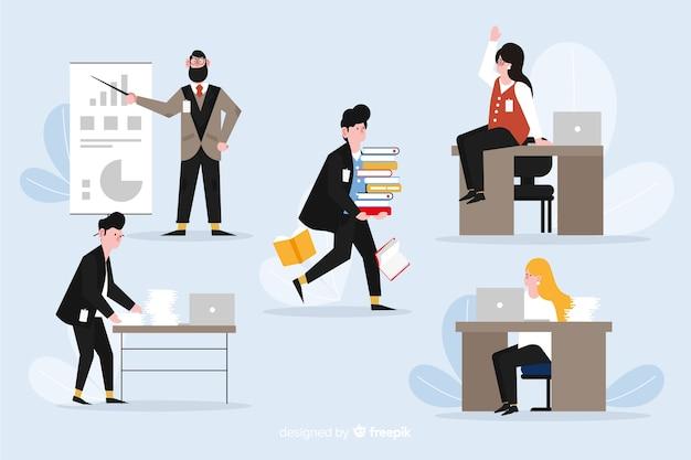 사무실에서 일하는 사람들의 그림