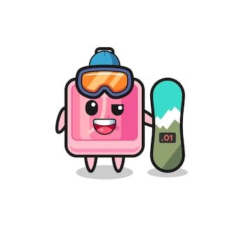 Иллюстрация парфюмерного персонажа в стиле катания на сноуборде, милый стильный дизайн для футболки, наклейки, элемента логотипа