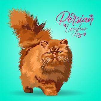 Иллюстрация персидской длинношерстной кошки.