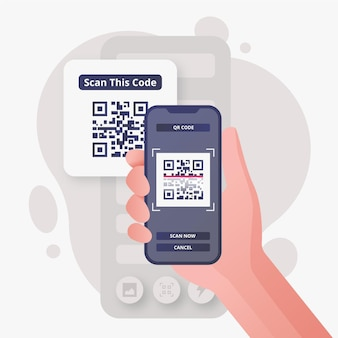 Иллюстрация человека, сканирующего qr-код с помощью смартфона
