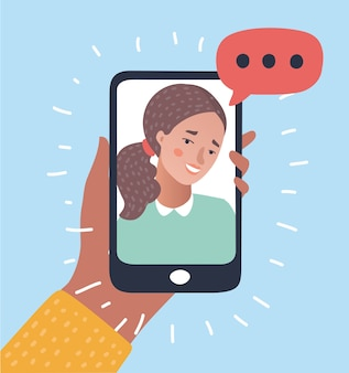 電話での会話のイラスト。
