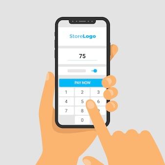手に電話のイラスト。スマホ画面で購入代金を支払うためのアプリ。画面キーボードで金額を入力します。タッチディスプレイ付きの指。