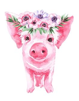Иллюстрация свиньи с цветами