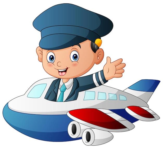 흰색 바탕에 비행기를 비행하는 조종사의 그림