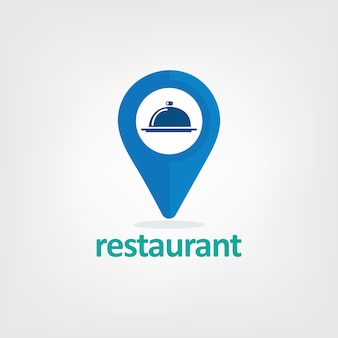 Illustration of pin location logo with restaurant icon.