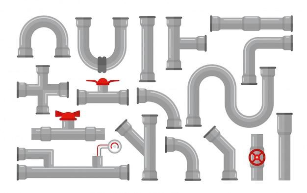 Иллюстрация труб, виды для сбора воды. стальные и пластиковые разъемы, трубы серого цвета с красными клапанами в плоский стиль, изолированные на белом фоне.