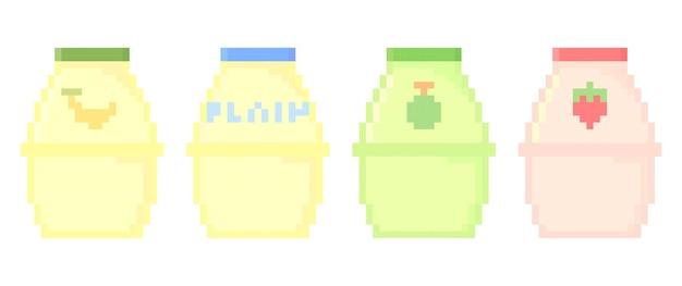 Иллюстрация пиксельного корейского молока с различным вкусом