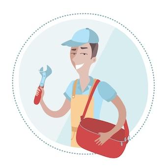 つなぎ服を着て、手にモンキーレンチを持ち、もう一方の手にバッグを持っている配管工の男性のイラスト