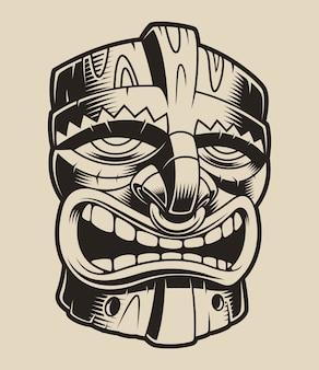 Иллюстрация полианезийской маски тики на белом фоне.