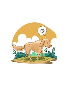 貧しい空腹の犬のイラスト