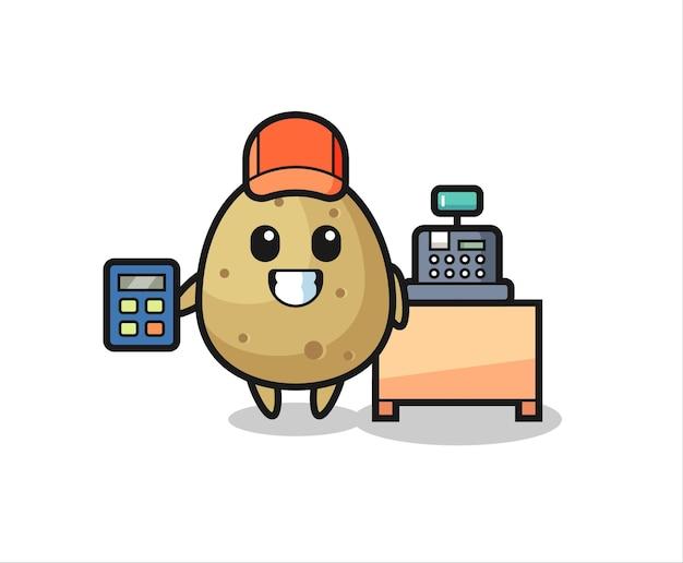 Иллюстрация картофельного персонажа как кассира, милый стиль дизайна для футболки, наклейки, элемента логотипа