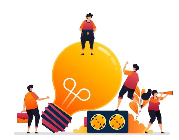 アイデアとインスピレーションのための電力のイラスト。照明用の電球のシンボル