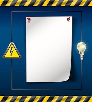 Иллюстрация баннера отключения электроэнергии с лентой опасности