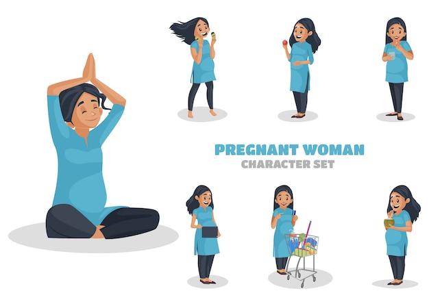 妊娠中の女性のキャラクターセットのイラスト