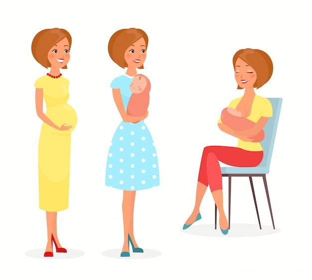 妊娠中の女性、赤ちゃんと母乳で育てる女性のイラスト。赤ちゃんを持つ母親は、赤ちゃんの胸を養います。フラットな漫画のスタイルで幸せな母性の概念。若い母親。