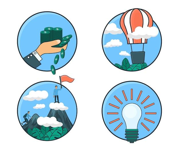 Иллюстрация премиум-вектора в плоском стиле об идее и бизнес-процессе с персонажем