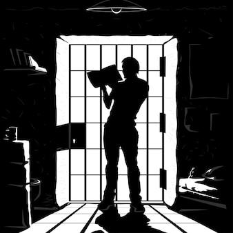 Иллюстрация силуэта заключенного, стоящего и читающего книгу возле баров