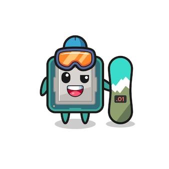 スノーボードスタイル、tシャツ、ステッカー、ロゴ要素のかわいいスタイルのデザインとプロセッサのキャラクターのイラスト