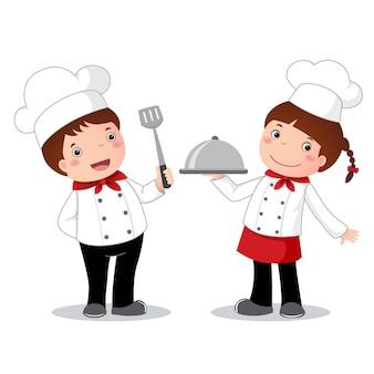 아이들을 위한 요리사의 직업 의상 일러스트