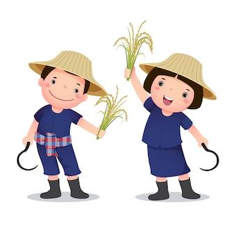 아이들을 위한 태국 농부의 직업 의상 삽화