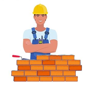 Иллюстрация профессионального строителя со скрещенными руками