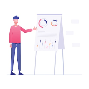 Иллюстрация профессионального обучения человека с бизнес-инфографикой