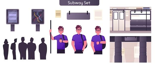 公共地下都市交通セットのイラスト。男の乗客が手すりを持って乗る。到着の地下鉄車を待っている人々の群衆。地下鉄駅、路線図、標識標識