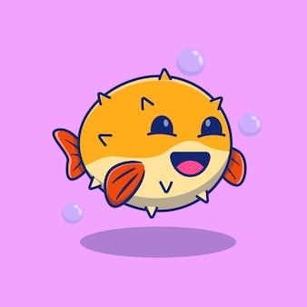 楽しく泳ぐフグのイラストプレミアム孤立動物デザインコンセプト