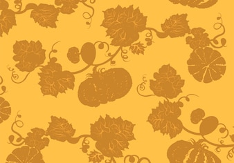 Illustration of pumpkins in yellow background