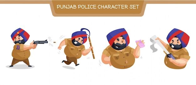 パンジャブ警察の文字セットのイラスト