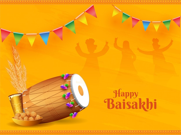 Иллюстрация панджабского фестиваля baisakhi или vaisakhi с барабаном, wheatears, сладостями и напитками на людях, танцующих силуэт на желтом фоне.