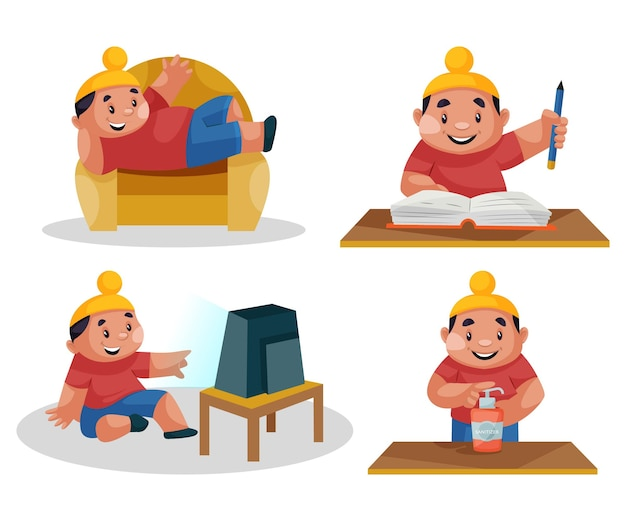 Иллюстрация набора символов ребенка пенджаби