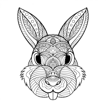 Иллюстрация кролика zentangle