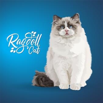 ラグドール猫のイラスト。