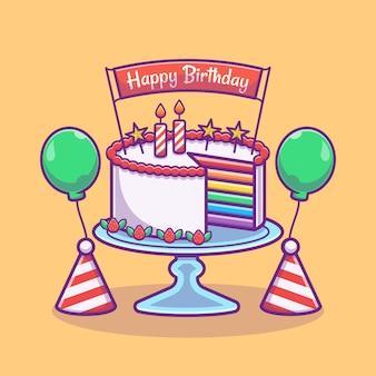 レインボーケーキとバナーと風船のイラスト。お誕生日おめでとうパーティーのコンセプト。フラット漫画スタイル