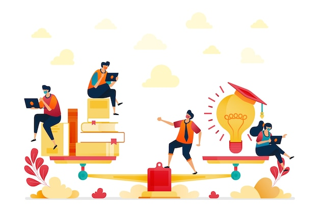 読書とアイデアのイラスト。本の山。電球、インスピレーションと教育。