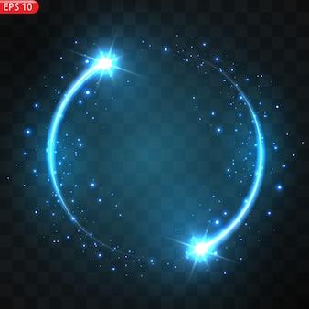 Иллюстрация реалистичной падающей кометы изолированной. падающая звезда метеор с хвостом