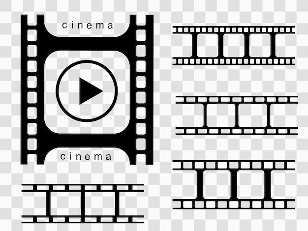 Иллюстрация реалистичные кинопленки на прозрачном фоне. кинолента для вашего дизайна.