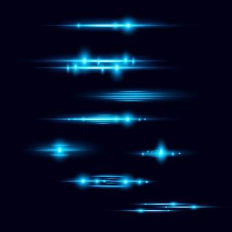 現実的なレンズフレア要素コレクションのイラスト。光の効果、暗い青色の背景に光の点滅。