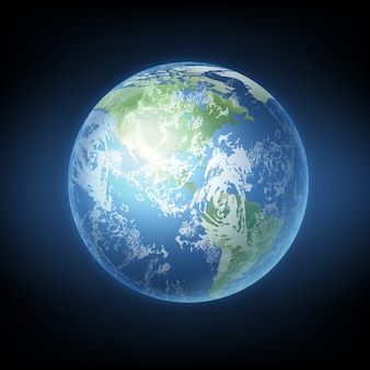 Иллюстрация реалистичной планеты земля с континентами и видом на океаны из космоса
