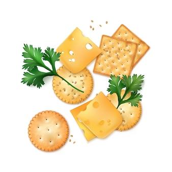흰색 배경에 고립 된 씨앗과 현실적인 원형과 사각형 치즈 크래커의 그림